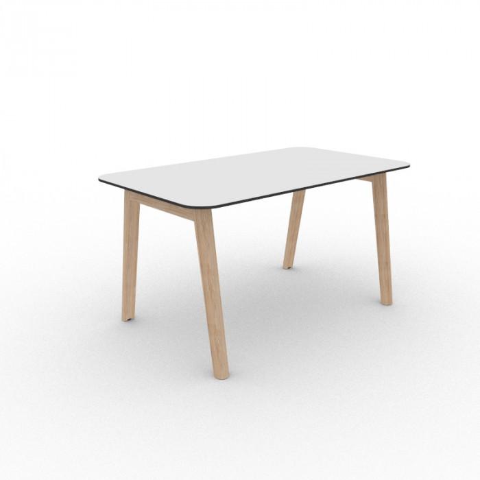 Nova Wood Edge skrivebord hvit/sort