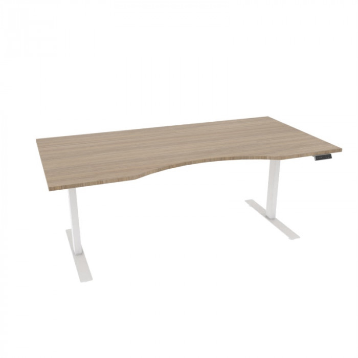 Alpha skrivebord magebue, eik/hvit