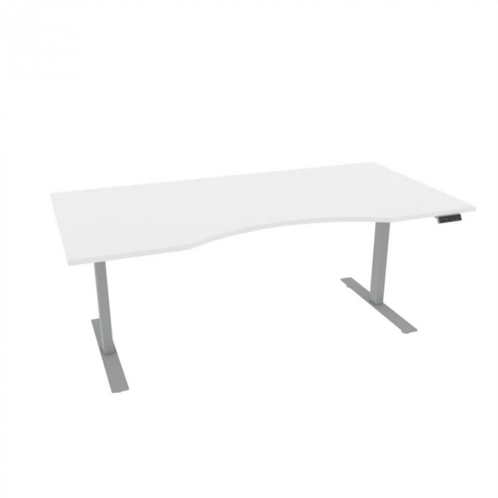 Alpha skrivebord magebue, hvit/sølv