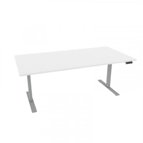 Alpha rektangulært skrivebord, hvit/sølv